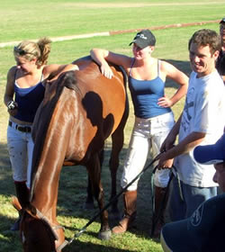 Bess, Gala, Michael with Foxy, Champion Pony of the Tournament, during their stay.